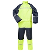Rainwear Set  coated PVC, navy yellow