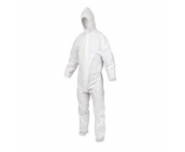 Disposable hooded coverall with elastics